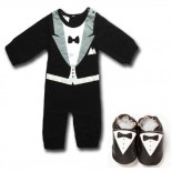 Best Man Tuxedo Set In Stripes Including Matching Shoes - Formal/Wedding Attire