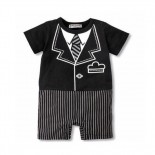 Pin Stripe Tuxedo 1 Piece Romper - Formal/Wedding Attire