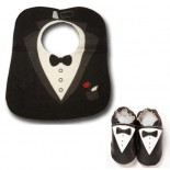 Black Tuxedo Bib & Shoes set