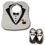 White Tuxedo Bib & Shoes set