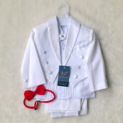 Elegant Boy White Suit/Tuxedo - Formal/Wedding 6-Pcs Suit